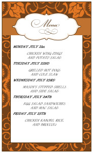 Check out the menu for the Week of July 21st
